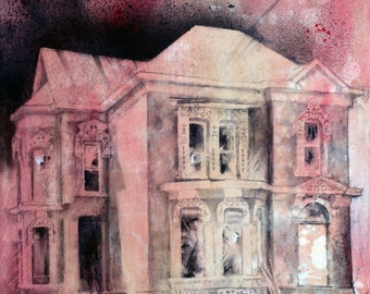 "Charcoal Drawing, Detroit - Fine Art Print - ""Trumbull"" - Abandonings, Detroit, Charcoal, Mixed Media"