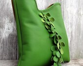 RESERVED for Edwin Kelly Green Leather Shoulder Bag with Vine Fringe by Stacy Leigh