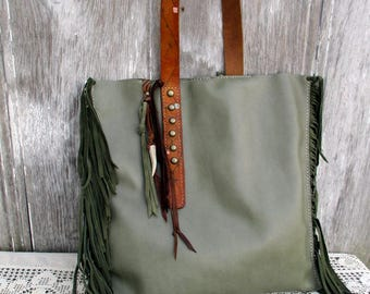 Leather Bag in Sage Green with Italian Suede Side Fringe and Vintage Belt Strap by Stacy Leigh