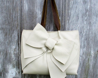 Leather Bow Bag in Ivory Beige by Stacy Leigh