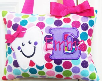 Tooth Fairy Pillow, Girls Personalized, Boutique, Custom Made, Optional Tooth Chart, Glitter Polka Dots