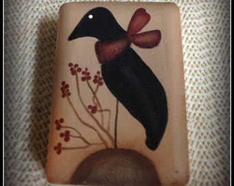Primitive Crow Soap Bar Bath Home Decor-Hand Painted
