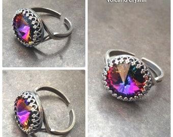 Volcano Swarovski Crystal Adjustable Ring Magic Healing