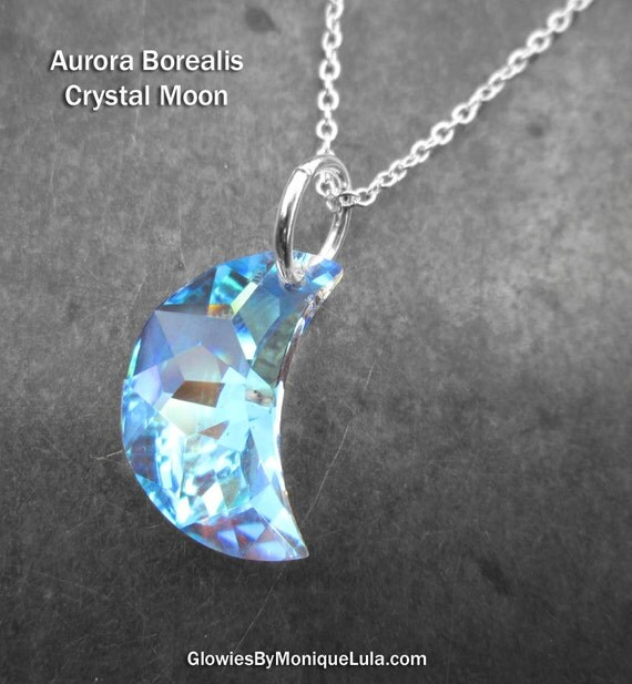 Genuine Swarovski Aurora Borealis Crystal Crescent Moon Necklace Magic