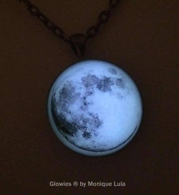 Real Full Moon Glow in the Dark Necklace Jewelry Magic Glowies