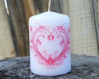 Valentine's Day Scroll Heart 2x3 Pillar Candle