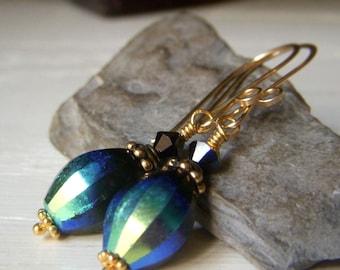 Black Crystal Earrings Goldfill, Vintage Czech Glass AB Aurora Borealis Earrings, Iridescent Earrings, Gold Filled Earwires