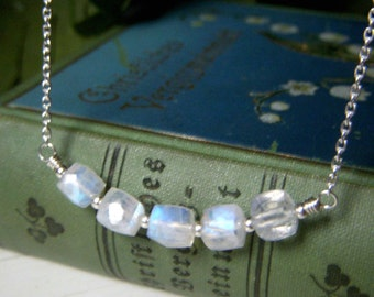 Moonstone Cube Necklace, Curved Gemstone Bar Necklace Rainbow Moonstone Necklace, Gemstone Cube Necklace, Small Minimalist Sterling Necklace