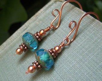 Teal Blue Earrings, Copper Earrings Hand Forged Earrings Blue Green Earring Copper and Caribbean Blue Earrings Czech Glass Rondelle Earrings