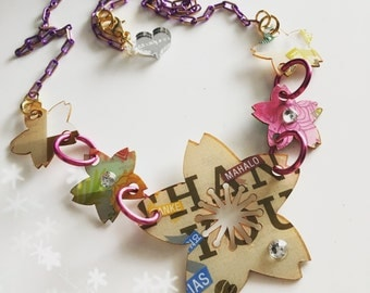 Starbucks SAKURA BLOSSOM trashart laser cut necklace
