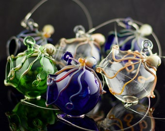Octopus Glass Globe Hanging Terrarium in You Choose the Color, Made to Order