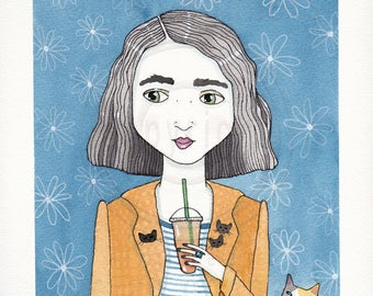 Girl and Coffee with Calico Cat Original Cat Folk Art Watercolor Painting