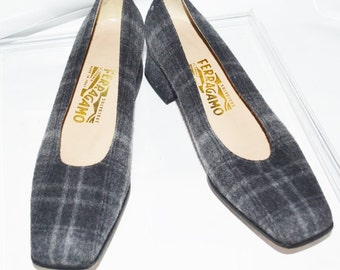 Salvatore Ferragamo shoes Plaid Fabric pumps size 8B
