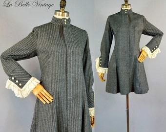 Vintage 60s Ultra Mini Coat Dress Gray Pinstripe Wool ~ Antique Ruffle Lace Trim