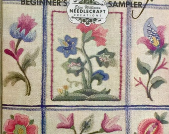 Elsa Williams Designer Needlecraft Creation * Rare Nine Patch Vintage Crewel Embroidery * Beginner's / Teacher's  Sampler Kit *  # KC204 *