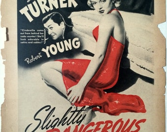 "Original Vintage Film Noir ""Slightly Dangerous"" Lana Turner, Photoplay Magazine Film Trade Ad Illustration, 1943"