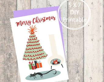 Printable Christmas Card Cute Cat, Merry Christmas, Printable Christmas Card, Christmas Card, Printable, Holiday Card, Mid-Century