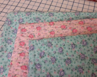 Four Yards of Vintage Calico / Seersucker  Fabric -- Three Different Pieces