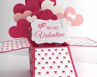 Valentine Pop Up Card - Be My Valentine Card - Valentine's Day Card in a Box - Handmade Keepsake Valentine for Wife, Girlfriend, Husband