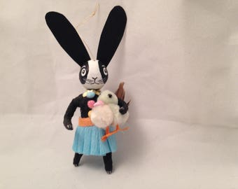 Refurbished spun cotton cake pick bunny ornament