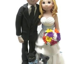 Custom cake topper, Cat Lovers wedding cake topper, Bride and Groom cake topper, Mr and Mrs cake topper, personalized cake topper