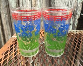 Pair of Vintage  1950's Era Floral Drinking Glasses