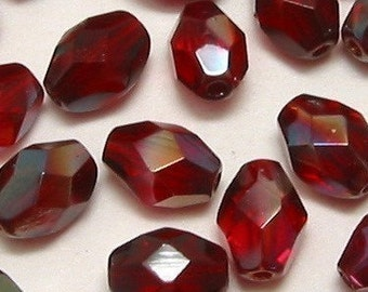 Czech  Glass Beads Firepolished Oval Ruby Celsian, 7X5 MM, 25 Pc. C71