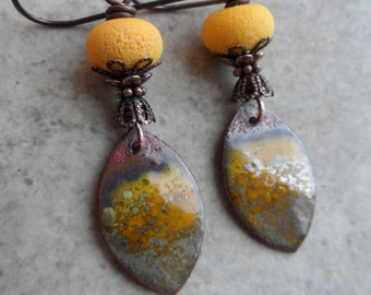 Sweet Meyer Lemons ... Artisan-Made Enameled Copper Charms, Lampwork and Copper Wire-Wrapped Rustic, Boho Earrings