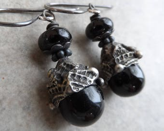 Ebony Drops ... Artisan Lampwork, Glass Headpins with Decorative Tinwork and Sterling Silver Wire-Wrapped Boho, Classic Earrings