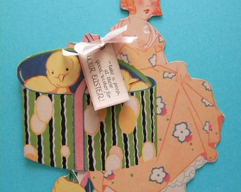 Vintage Unused Easter Card Chicks in a Hat Box Flapper Era Stand Up Card