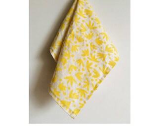banana leaf. block print linen napkins set of four. / hand printed / placemats