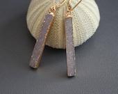 Druzy Bar Earrings,Neutral Druzy Bar Earrings,Drusy Elongated Earrings,Beige Druzy Earrings,Mineral Earrings,Geode Earrings,Geometric