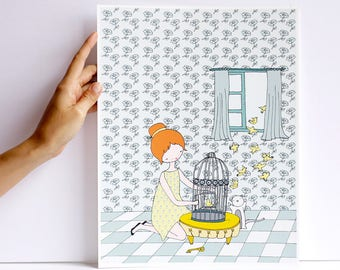 Print - Les petites - fly bird fly - cara carmina - - illustration - - 10.6 x 13.8 inches - Fabriano paper
