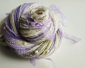 Handspun Art Yarn - WINTER FAIRY - Soft Alpaca and Wool. White, Green, Lilac. Freshwater Pearls, Elegant Ribbons. Luxury Knitting. 200+ yds