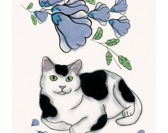 """Cat art print black and White cat print - This is Robert 4"""" X 6"""" kitty print - 4 for 3 Sale"""