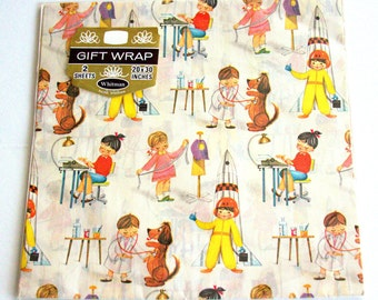 Vintage Gift Wrap - Spaceman - Novelty Paper - Whitman - Collectible - NOS - Unopened - Wrapping Paper.