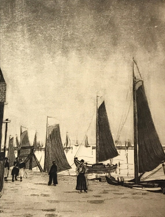 A. Graeme Mitchell (1889-1941) Etching of Sailboats at Harbor