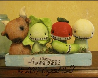 Anthropomorphic Dolls Cow Pickle Veggies Whimsical Farmhouse cottage chic shabby decor kitchen primitive creepy cute country Farm Quirky