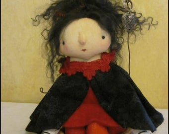 Queen and tart Doll Whimsical Farmhouse decor gothic kitchen country red cottage chic shabby primitive creepy cute  Quirky