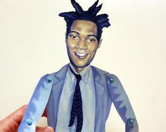 Jean Michel Basqiat Articulate Paper Doll - Paper Puppet - DIY Printable PDF - 80's