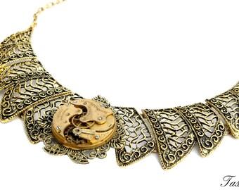 Steampunk Necklace, Gold Filigree Necklace, Antique Pocket Watch Necklace, Metal Lace, Statement Bib Steampunk Wedding Necklace, Avant Garde