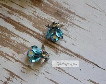 VINTAGE blue and silver earrings, rhinestone