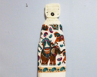 Hanging Kitchen Towel Crochet Top Double Layered Towel Elephants & Horses