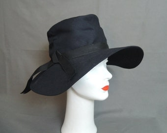 Vintage Black Fabric Hat with Wide Floppy Brim, 21 to 22 inch head, 1960s