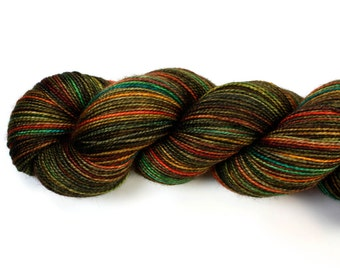 Copper Patina--hand dyed sock weight yarn, 2 ply merino, cashmere, nylon (400yds/100gm)