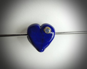 Little blue Heart Handmade lampwork bead by diane  SRA