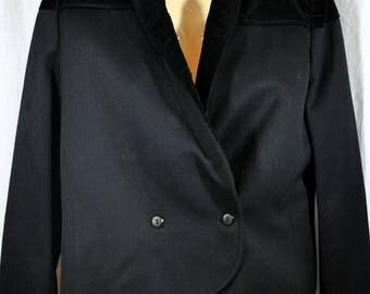 Valentino Miss V Black Crepe Wool and Silk Velvet Vintage Tuxedo Jacket - Western Style Blazer - Size 14 - Double Breasted