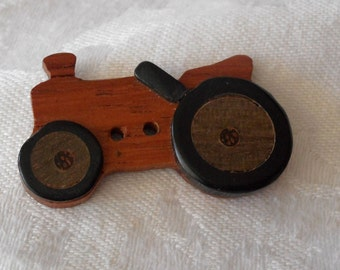 VINTAGE Realistic Tractor Wood Sew Thru BUTTON
