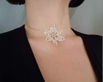 SnowFlake Choker / Needle Tatted Lace Boho Necklace CLEARANCE SALE