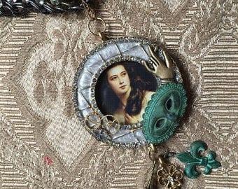 Steampunk Victorian Renaissance Framed Portrait Assemblage Pendant Multi Chain Necklace